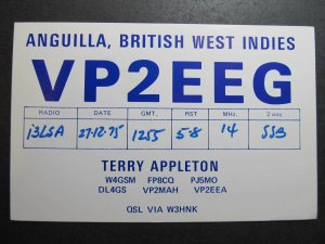 9953 Amateur Radio QSL Card ANGUILLA BRITISH WEST INDIES