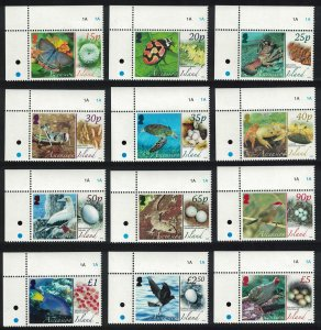Ascension Fauna and their Eggs Birds Butterflies 12v Corners SG#987-998