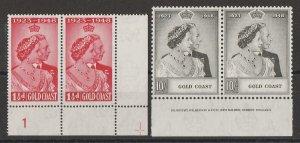 GOLD COAST 1948 KGVI Silver Wedding set, plate & imprint pairs. MNH **.