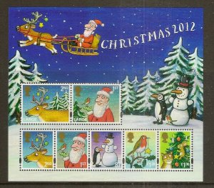 GB 2012 Christmas Mini Sheet MNH