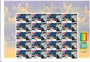 Australia #1832b  45c Kangroo & Flag sheet of 20 + labels (MNH) CV $24.00