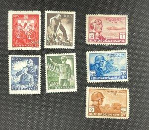 7, 1943/44 Hrvatska/Croatia MH Stamps Labour & Pilots Series