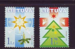 Lithuania Sc 731-2 2002 Christmas stamp set  mint NH