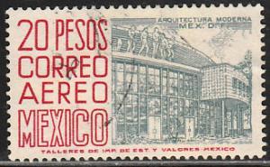 MEXICO C298, $20Pesos 1950 Definitive 3rd Printing wmk 350. USED. F-VF, (1442)