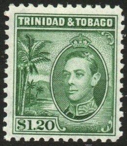TRINIDAD & TOBAGO-1940 $1.20 Blue-Green Sg 255 MOUNTED MINT V48442