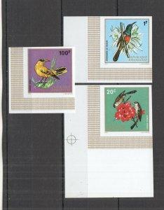W1195 IMPERF 1972 RWANDA FAUNA BIRDS !!! CORNER 3ST MNH