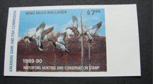 US Arkansas 1989 Wing Mead Mallards Hunting Stamp - mnh