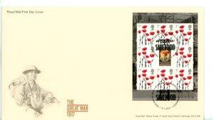 Great Britain 2017 FDC  Great War 1917 Save Food Cancel Miniature Sheet Poppy