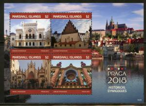 MARSHALL ISLANDS 2018 PRAGA 2018 HISTORICAL SYNAGOGUES SHEET MINT NH