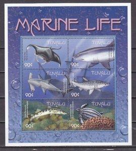 Tuvalu, Scott cat. 821 a-f. Marine Life sheet of 6. ^