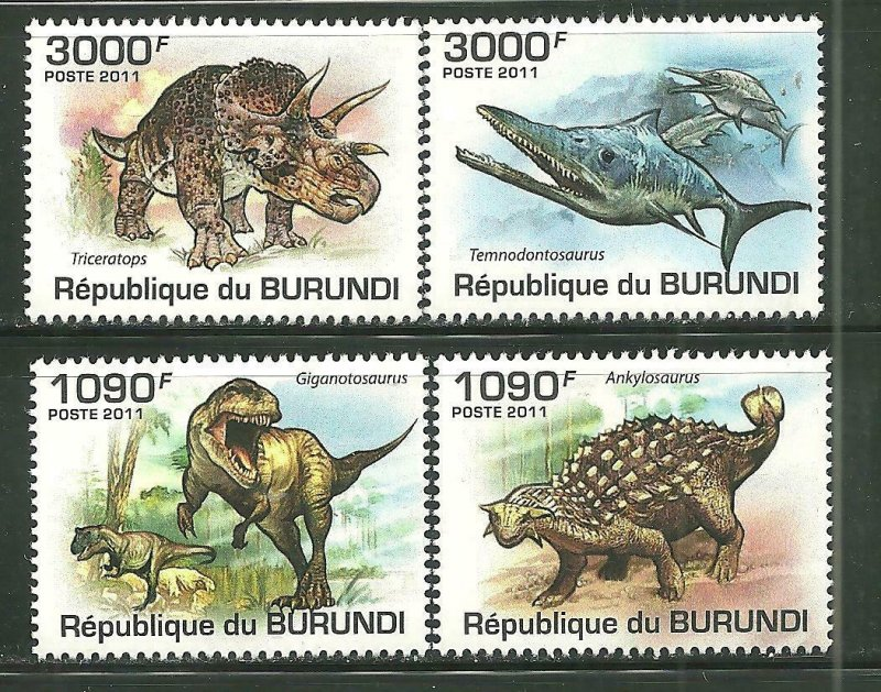 Burundi MNH 912-5 Prehistoric Animals Dinosaurs 2011 SCV 13.50
