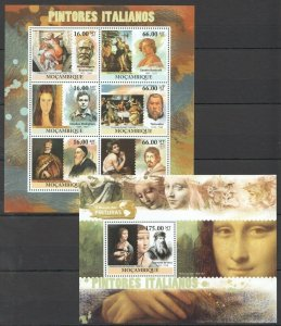 BC1035 2011 MOZAMBIQUE ART ITALIAN PAINTINGS VINCI TITIAN MODIGLIANI BL+KB MNH