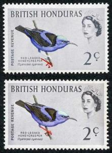 British Honduras SG203 1962 2c (legs) Bird Colour Shift M/M