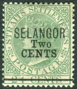 SELANGOR-1891 2c on 24c Green.  A mounted mint example Sg 46