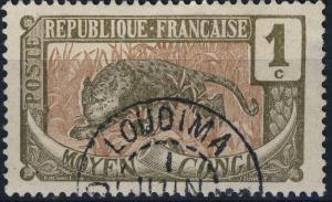 CONGO FRANÇAIS -  CAD de LOUDIMA sur 1c Panthère N°48