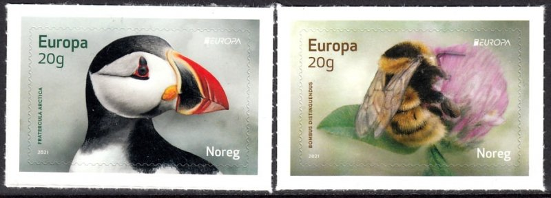 NORWAY 2021 EUROPA CEPT BIRDS BEES INSECTS OISEAUX VOGEL UCCELLO S/A [#2102]