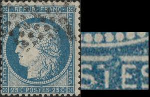 FRANCE - Yv.60A 25c bleu (type I) - variété (voir scan)