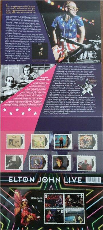 HERRICKSTAMP GREAT BRITAIN Sc.# 3876-83, 3884 Elton John Presentation Pack