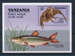[48007] Tanzania 1990 Marine life Fish Owl Extinct MNH Sheet