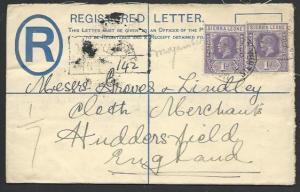 SIERRA LEONE 1932 GV 3d small registered envelope used MOYAMBA to UK.......56807