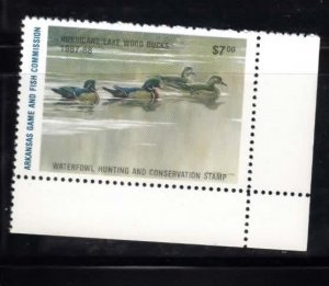 Arkansas No 7 Duck Stamp LR Wood Ducks Mint NH