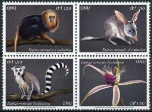 Geneva United Nations UN Stamps 2021 MNH Endangered Species Monkeys 4v Block