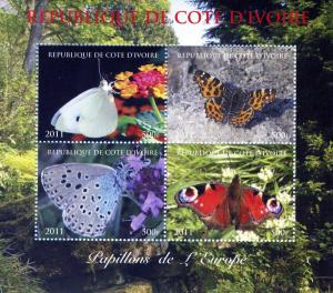Butterflies of EUROPE Sheet (4) Perforated Mint (NH)