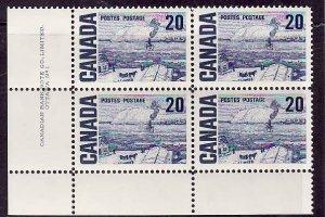Canada-Sc#464-Unused NH 20c The Ferry Centennial-LL plate block #1-Dex gum-1967-