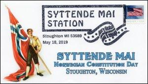 19-090, 2019, Syttende May, Pictorial Postmark, Event Cover, Norwegian Constitut
