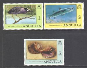 Anguilla Scott 275/277, 1977 Birds and Fish 1c - 3c MNH**