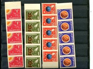 Albania #621-24  Imperf. strips of 5 VF NH  - Lakeshore Philatelics
