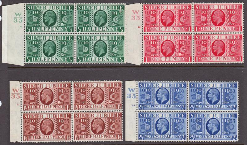 GB KGV 1935 Silver Jubilee Control Blocks x4 SG453-456 Mint Never Hinged MNH UMM