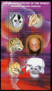 TANZANIA ENDANGERED SPECIES OF THE WORLD ANIMALS OF LATIN AMERICA SHEET MINT NH