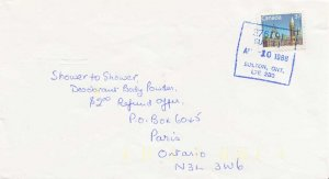 Canada 37c Parliament 1988 376191 Sub #1 Bolton, Ont. L7E 2B0 to Paris, Ont.