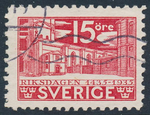 Sweden Scott 241 (Fa 242C), 15ö red Parliament, F-VF Used