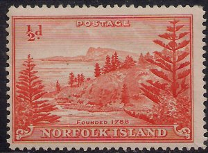 Norfolk Island 1947 KGV1 1/2d Orange MM SG 1 ( J607 )