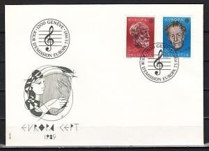 Switzerland, Scott cat. 755-756. Composers, Europa Music Year. First day cover.
