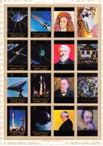Ajman 1973 Scientists and Space Mini-Sheetlet (8+8L) Perforated MNH