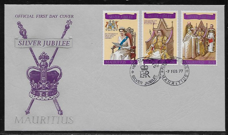 Mauritius 433-35 25th Queen Elizabeth Unaddressed FDC