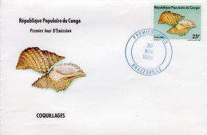 Congo 1983 Sc#675A SEASHELLS MARINE LIFE Single value 25F.Official FDC