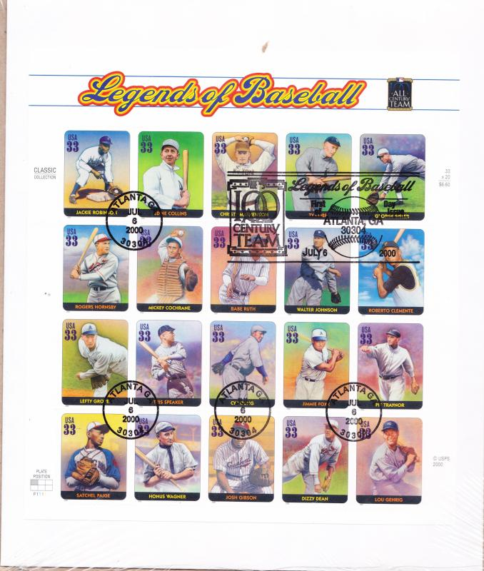 Legends of Baseball Sheet on Large FDC