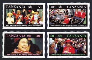 Tanzania Queen Elizabeth II 60th Birthday 4v Colour shift SG#517-520 SC#333-336