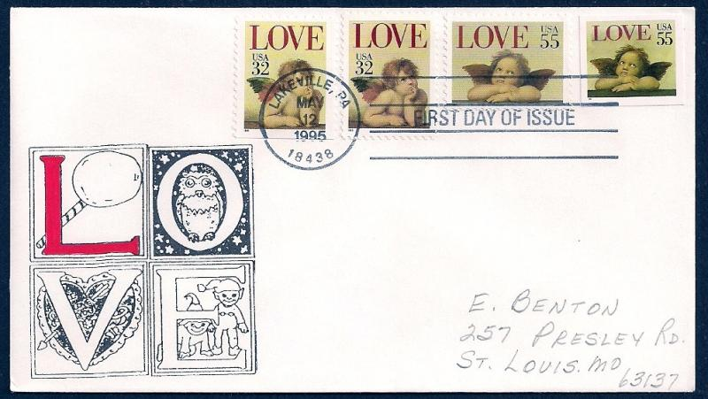 UNITED STATES FDC 32¢ & 55¢ LOVE COMBO 1995 Cacheted