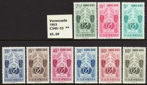 1951 Venezuela Arms of Yaracuy & Tropical Foliage A/M set MOG Sc# C545 / C553
