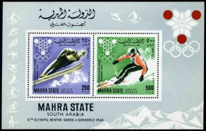 Aden Mahra State Michel 47 Bl.4A,MNH.Olympics,Grenoble-1968.
