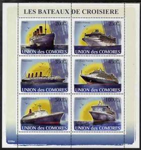 Comoro Islands 2009 Cruise Ships perf sheetlet containing...