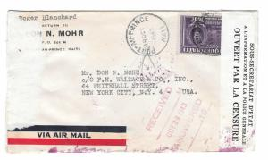 Haiti Double Censored Cover 1943 to US Receiving Mark Backstamps Mohr FE Wallace