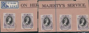 St. Helena 1954 St. Helena Cancel Recorded Stamps Cover Front ref  R 16759