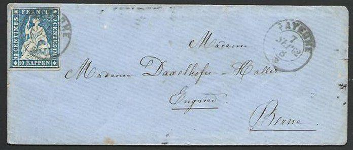 SWITZERLAND 1862 Lady's envelope, 40rp imperf Payerne to Berne.............58393