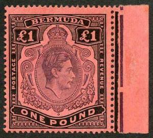Bermuda SG121b KGVI One Pound Pale Purple and Black on pale red Fresh U/M